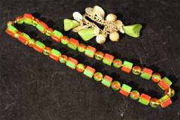 Vintage Bakelite Charm Bracelet & Lucite Necklace