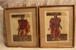 Pair Julius Caesar Costume Design Sketches