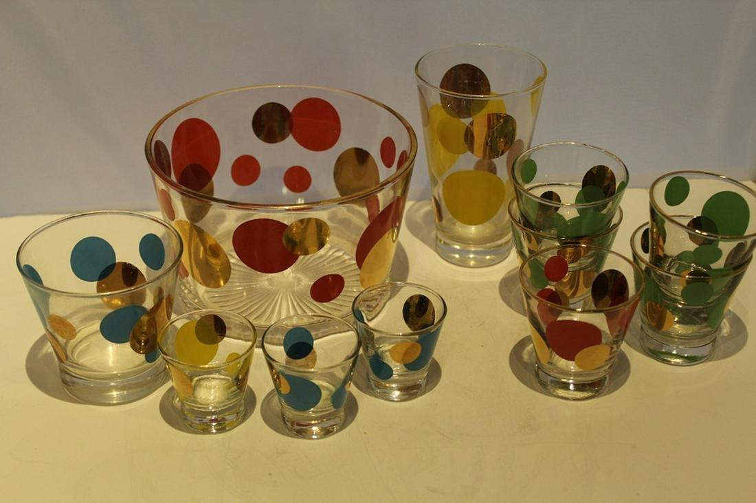Russel Wright Eclipse Polka Dot Glass Barware