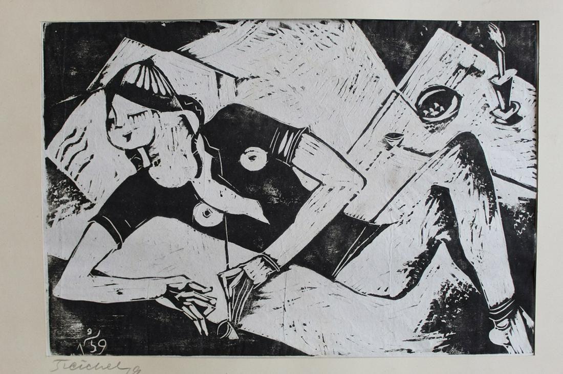 Oskar Treichel German Expressionist Lino Print