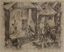Oskar Treichel German Expressionist Charcoal