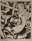 Oskar Treichel German Expressionist Lino Cut