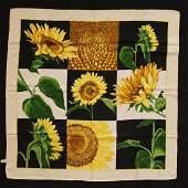 Celine Paris Sunflower Motif Silk Scarf