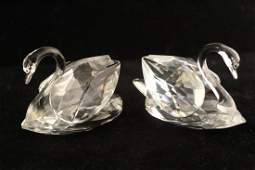 Pair Swarovski Crystal Swan Figurines