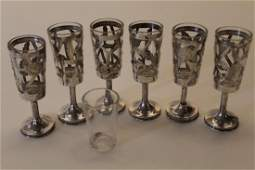 Vintage Mexican Sterling Silver Cordial Glasses