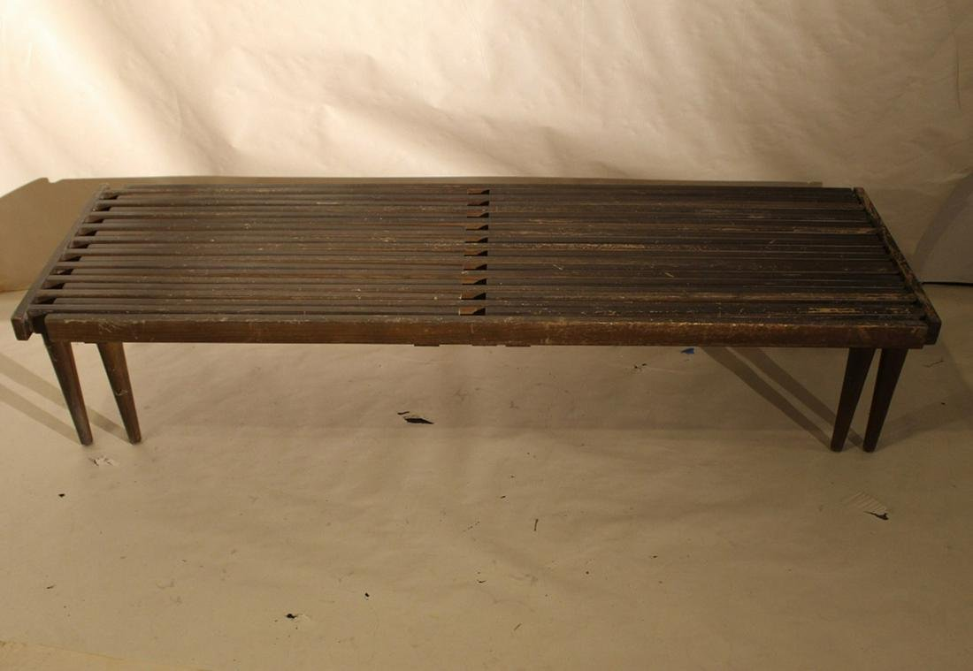 Mid Century Expanding Slat Bench Coffee Table