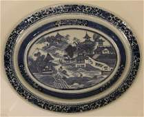 Antique Chinese Export Blue & White Oval Platter
