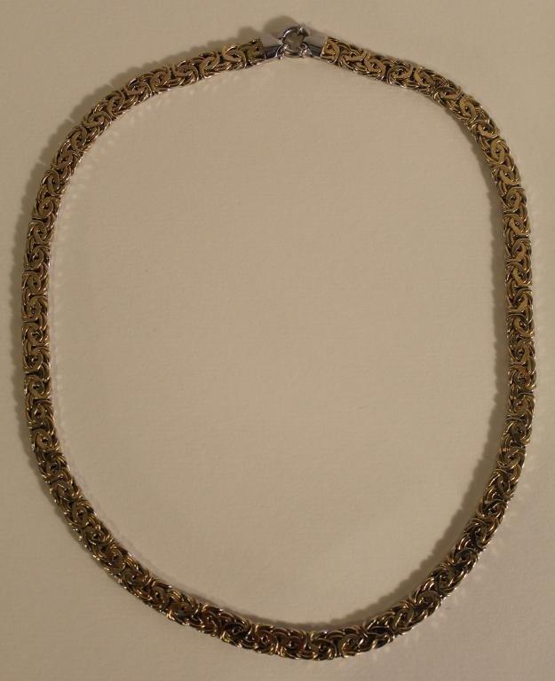 14K Yellow White Gold Byzantine Chain Necklace
