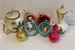 Vintage Diorama & Other Glass Christmas Ornaments
