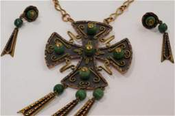 Vintage Mexico Mixed Metal Necklace  Earring Set