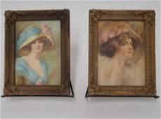 Pair Antique Portrait Prints of Women
