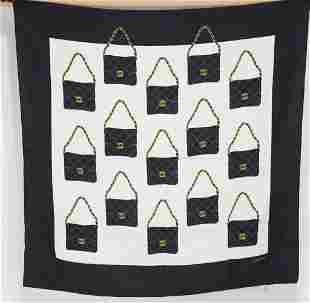 Chanel Purse Design Silk Scarf