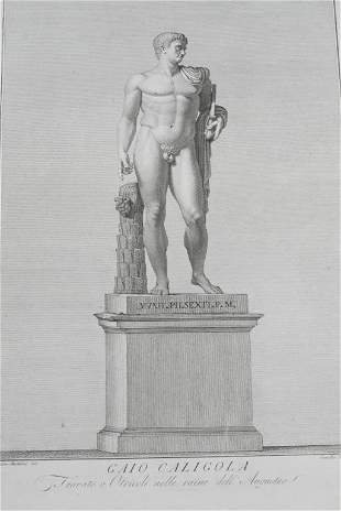 1784 Museo Pio Clementino Statue Engraving