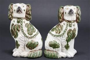 Pair Staffordshire King Charles Spaniel Figurines