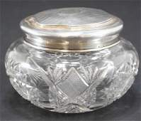 Antique Sterling and Cut Crystal Vanity Jar