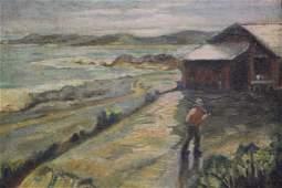 Vintage Seaside Cabin Oil Painting