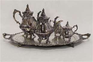 Baroque by Wallace Tea Set with Tray