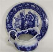 Vintage Flow Blue Transfer Pitcher & Plate