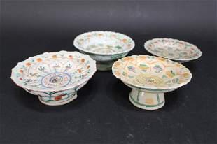Antique Thai Pottery 3-Color Offering Bowls