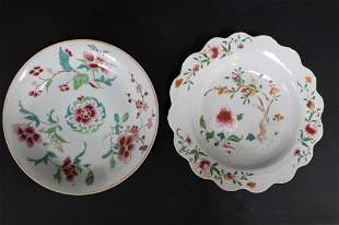 Antique Chinese Famille Rose Plate and Bowl