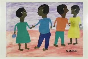 Daniel Kariuki (Kenya) Outsider Folk Art Painting