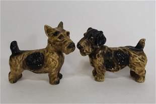 Pair Vintage Plaster Chalkware Scottie Dogs