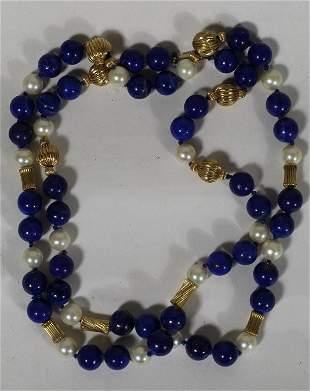 Lapis Lazuli Pearl & 14k Gold Bead Necklace