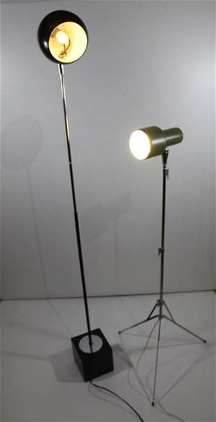 Two Mid Century Mod Floor Lamps
