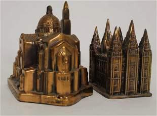Vintage Metal Souvenir Cathedral Buildings