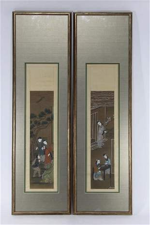 Pair Antique Chinese Hand Painted Scrolls