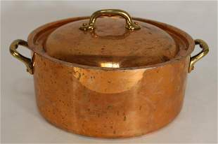 Vintage French Copper Cooking Pot with Lid