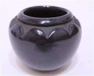 Sophie Cata Santa Clara Pueblo Black Pottery Bowl