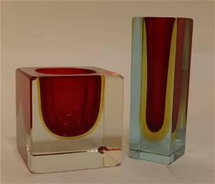 Murano Sommerso Glass Block Vases