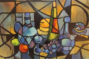 Mid Century Modernist Abstract Still Life Painting