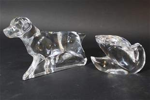 Baccarat Crystal Dog and Swan Sculpture Figurines