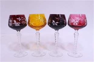 Bohemian Colored Cut to Clear Steware Goblets