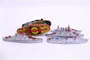4 Tootsie Toy Ships and Marx Litho tin Tank