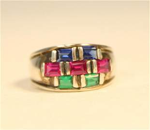 Sterling Emerald Sapphire Ruby Ring