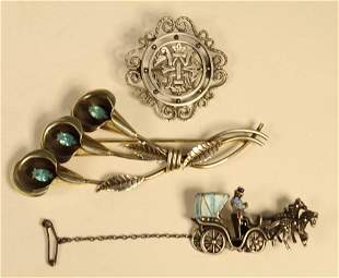 3 Vintage Sterling Brooches