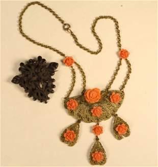 Gutta Percha Victorian Brooch & Filigree Necklace
