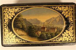 Antique Hand-Painted Tin Tea Box with Keyed Lock