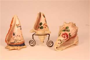 3 Antique Souvenir Painted Folk Art Shells