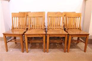 Vintage Oak Library Office Chairs Set 8
