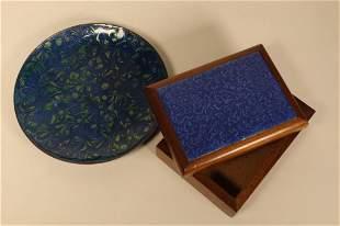 Mid Century Enamel Dish & Porcelain Plaque Box