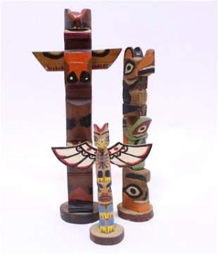 Vintage Native American Style Totem Poles