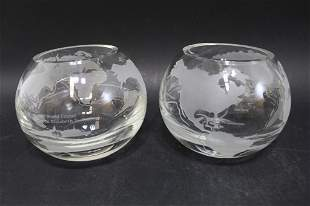Windermere Crystal Etched Globe Bowls