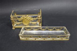 French Gilt Bronze Ormolu & Crystal Desk Set