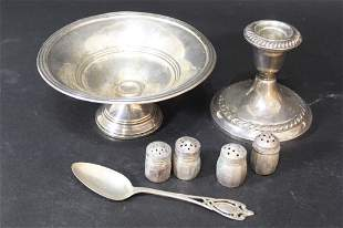 Sterling Bowl Candle Holder Shakers Spoons