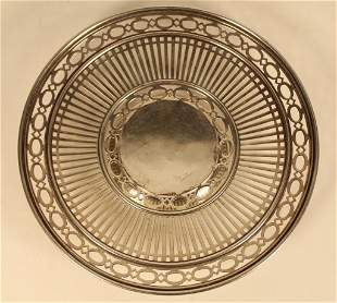 Vintage Sterling Pierced Footed Plate Dish