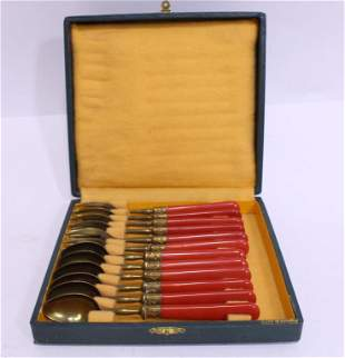 Art Deco French Boxed Fish Fork & Spoon Set